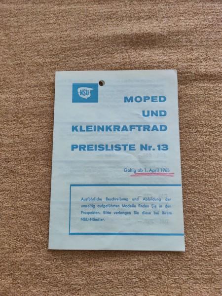 NSU - original Moped und Kleinkraftrad Preisliste Nr.13 April 1963 ! -- (31)