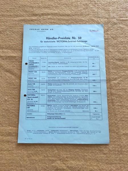 Victoria - Händler-Preisliste Nr.50 1965 Vicky 136 166 Aero 136 ! -- (31)
