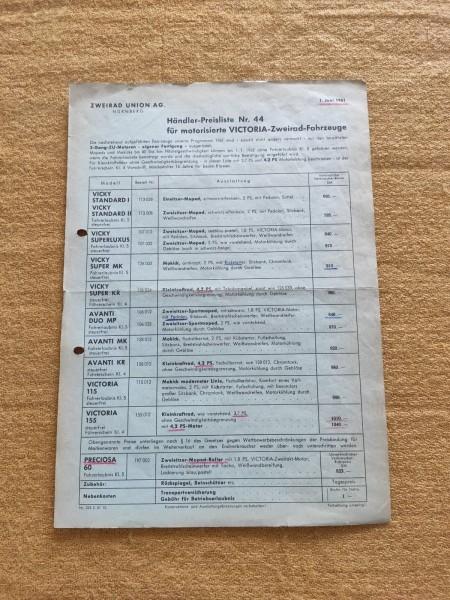Victoria - Händler-Preisliste Nr.44 1961 Vicky Superluxus MK KR Avanti ! - (31)