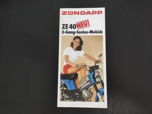 Zündapp ZE 40 3 Gang - original Faltprospekt Poster ! -- (31)