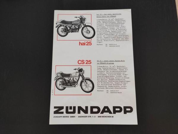 Zündapp Hai 25 / CS 25 - original Werbeblatt 1980 Werbung Sammler ! -- (31)