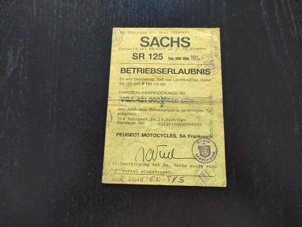 Sachs SR 125- original Papiere Betriebserlaubnis ! -- (36)