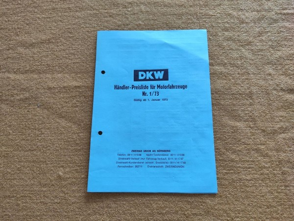 DKW - originale Händler-Preisliste 1973 Sport Bike Hobby_Rider etc ! -- (31)