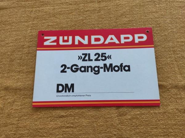 Zündapp ZL 25 - original Preisschild Selten Rarität ! -- (31)