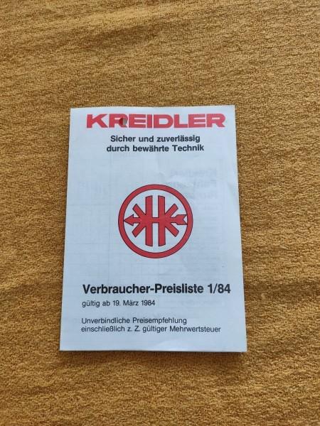Kreidler Mofa Moped - original Verbraucher-Preisliste 1/84 Selten Rarität ! (31)