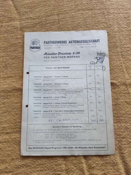 Pantherwerke - original Preisliste von 1959 B8 B9 B10 Moped Selten ! -- (31)