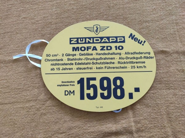 Zündapp ZD 10 - original Preisschild 1598DM Selten Rarität ! -- (31)