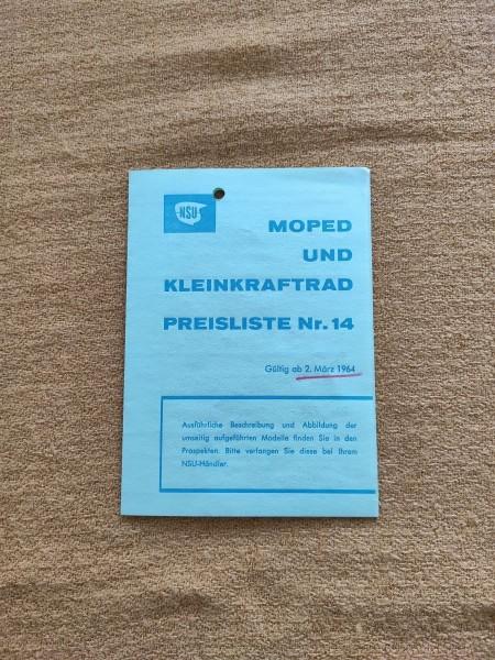 NSU - original Moped und Kleinkraftrad Preisliste Nr.14 März 1964 ! -- (31)