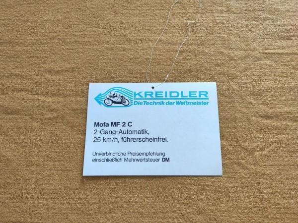 Kreidler MF2 C - original Preisschild DM Rarität Sammler ! -- (31)