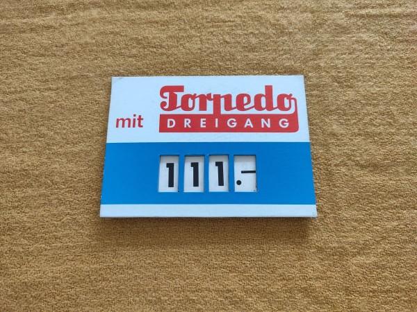 Torpedo Dreigang - original Preisschild Fahrrad Rarität Sammler ! -- (31)