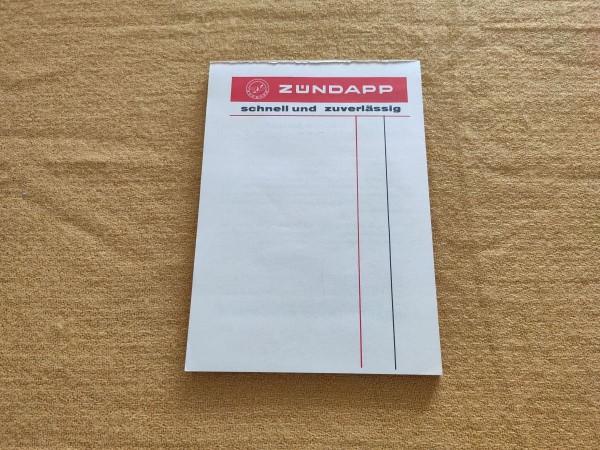 Zündapp - original Notizblock Schreibblock Rarität ! -- (31)